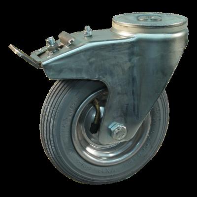 Swivel support with brake 7x1 3/4 (175x45) 1.25x3.8 (200x50) ET0 NL60 91 steel, grey