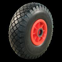 PU Reifen + Rad 3.00x4 Block + 2.10X4 Rollenlager Ø25 NL75 kunststoff, Rot