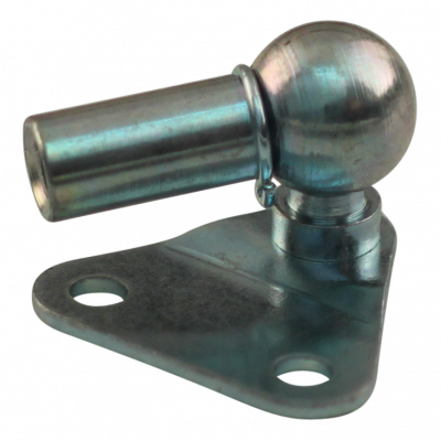 Attachment plate with ball BB01/K08+PF22 zinc plated triangle 28x28x1,5mm, 2 holes Ø4,3mm on 18mm. Ball 8mm, Pan PF22 M5, Max 50