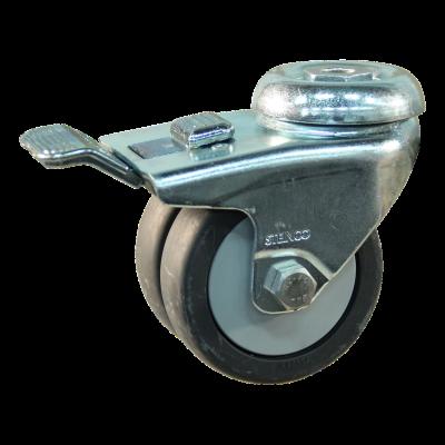 Roulette pivotante avec frein 75mm serie 64 - 42