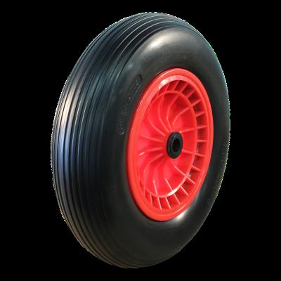 PU Reifen + Rad 4.00x8 Rillen + 2.50Ax8 Gleitlager Ø20 NL75 kunststoff, Rot