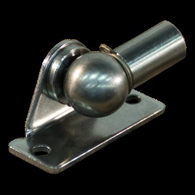 Plaque de fixation avec balle BB20/K08+PX18 zingué fixation de coin, 2 trous Ø4,3mm at 19mm, hauteur 10mm, bille 8mm, chapeau PX18 (M3,5), monté BB20/K08+PX18 mit Sicherungsbügel