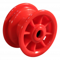 Swivel castor 3.00-4 V-6605 2PR 2.10x4 roller bearing Ø20 NL75 - 12 plastic, red