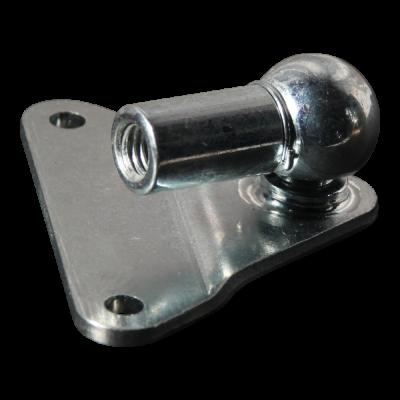 Bevestigingsplaat met kogel, kogelpan en borgbeugel verzinkt kompleet, driehoek 62x62x62x3,0, 2 gaten Ø5,3mm op 55mm. Tap Ø13x9,5mm. Max 1200N kogelpan DIN 71805 13mm M8