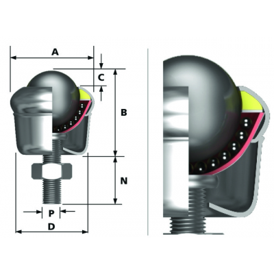 Ball fixing unit bolt mounting with cup Ø19 type 13 (steel ball, galvanized housing)