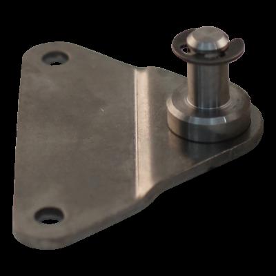 Bevestigingsplaat met pen BA01/Z08 RVS 316 materiaaldikte 3 mm, hoogte 10 mm, 2 gaten Ø6,1mm op 55mm. Tap Ø8x14mm. Max 1200N, met borgring. BA01/Z08 V4A