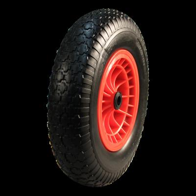 PU Reifen + Rad 4.00x8 Block + 2.50Ax8 Gleitlager Ø20 NL75 kunststoff, Rot