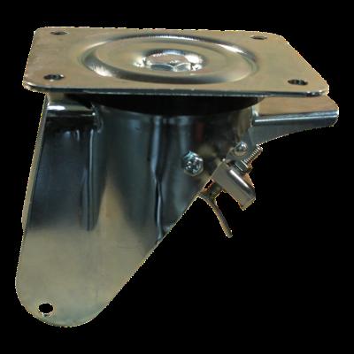 Swivel castor with brake 3.00-4 V-6605 2PR 2.10x4 NL75 91 plastic, red
