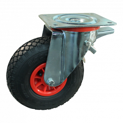 Roulette pivotante avec frein 3.00-4 V-6605 2PR 2.10x4 roulement à aiguilles Ø20 NL75 91 plastique, Rouge