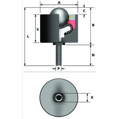 Kugelrolle hevi-load 1 Ø12,7 710613 Typ 13 (Stahlkugel, verzinktes Gehäuse)