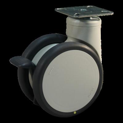 Roulette pivotante avec frein 125mm série 55 - 77