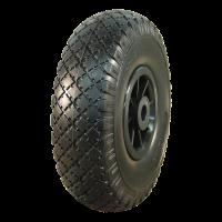 PU Reifen + Rad 3.00x4 Block + 2.10X4 Rollenlager Ø20 NL75 kunststoff, schwarz