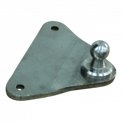 Bevestigingsplaat met kogel BA01/K10 RVS 316 driehoek 3mm, 2gaten Ø5,3mm op 55mm. Hoogte 16mm, Kogel 10mm. Max. 800N. BA01.K10.V4A