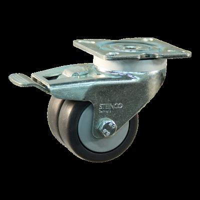 Roulette pivotante avec frein 50mm serie 64 - 42