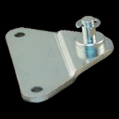 Bevestigingsplaat met pen BA01/Z06 Max 500N, met borgring. materiaaldikte 3 mm, hoogte 10 mm, 2 gaten Ø5,3mm op 55mm. 1 gat Ø6mm op 30mm. Tap Ø6x14mm. Max 500N. BA01/Z06/002