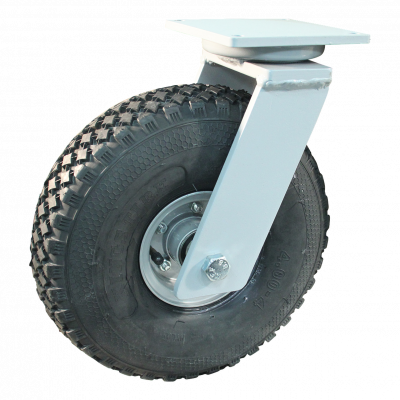 Swivel castor 4.00-4 V-76 extra 6 2.10-4H2 ET0 ball bearing Ø25 NL75 367 Plate mounting 20 max. 30Km/h steel, grey