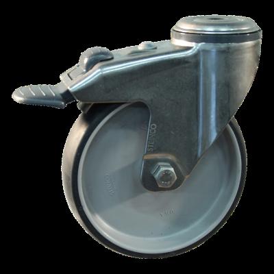 Roulette pivotante avec frein 125mm serie 66 - 38