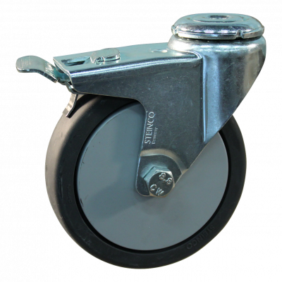 Roulette pivotante avec frein 100mm serie 64 - 40